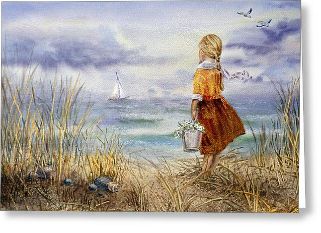 Sea Shell Art Paintings Greeting Cards - A Girl And The Ocean Greeting Card by Irina Sztukowski