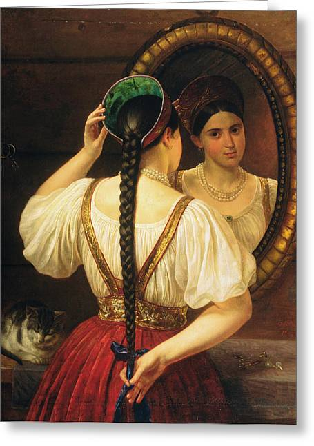 A Girl At The Mirror, 1848 Oil On Canvas Greeting Card by Philipp Osipovich Budkin