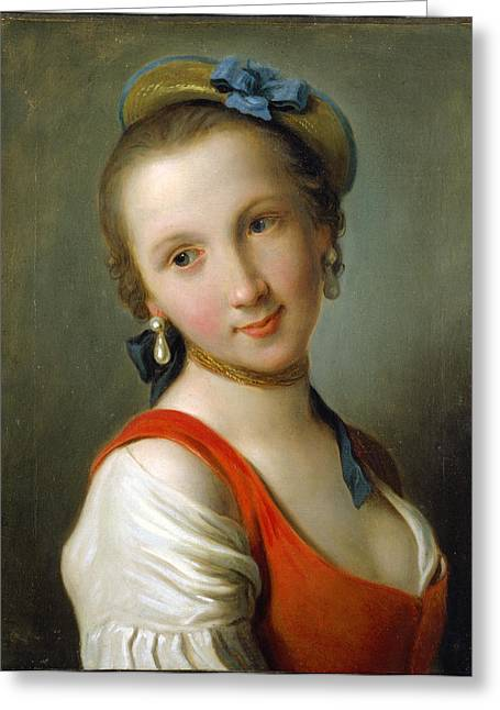 Red Dress Greeting Cards - A Girl in a Red Dress Greeting Card by Pietro Rotari