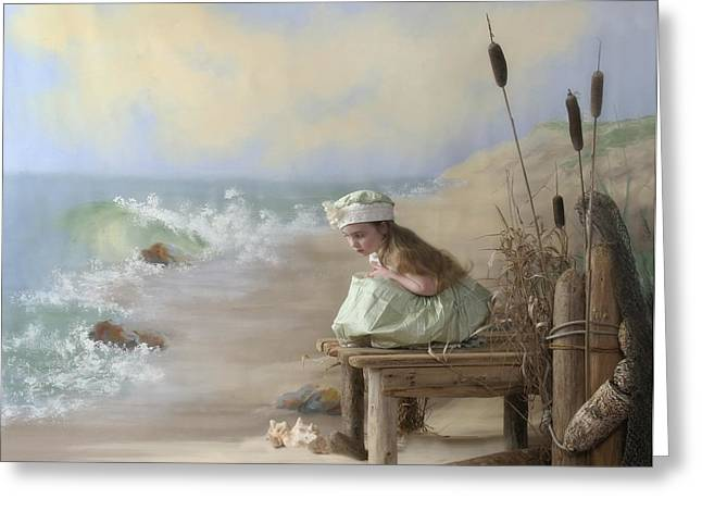 A Girl Posed By The Seashore Victoria Greeting Card by Pete Stec