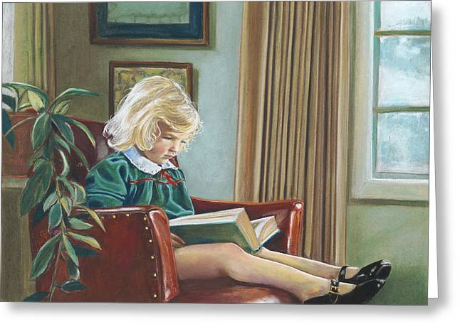 Birdseye Greeting Cards - A Girl Reading Greeting Card by Nick Payne