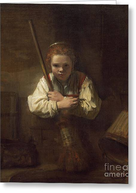 A Girl With A Broom Greeting Card by Rembrandt