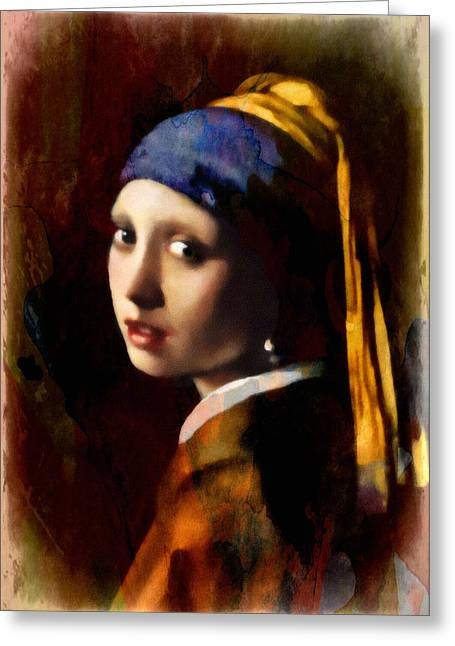 Yellow Greeting Cards - A Girl With A Pearl In Autumn Greeting Card by Georgiana Romanovna