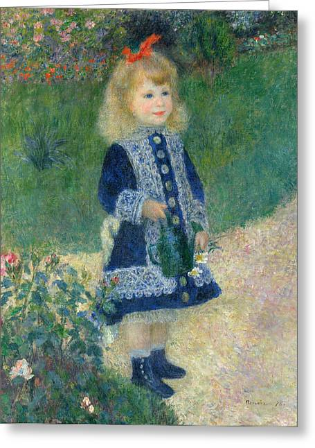 Renoir Greeting Cards - A Girl with a Watering Can Greeting Card by Auguste Renoir