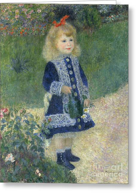 Innocence Greeting Cards - A Girl with a Watering Can Greeting Card by Pierre Auguste Renoir