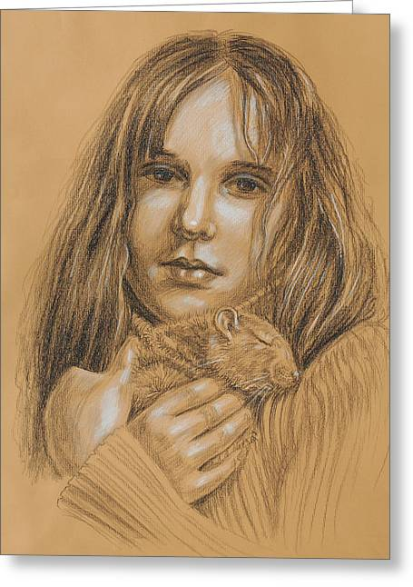 Hamster Drawings Greeting Cards - A Girl With The Pet Greeting Card by Irina Sztukowski
