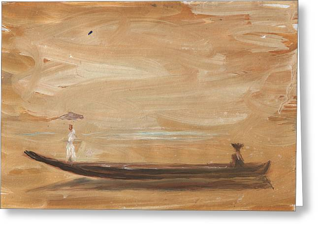 Travel Paintings Greeting Cards - A Girl With Umbrella On A Boat Greeting Card by Nenad  Cerovic