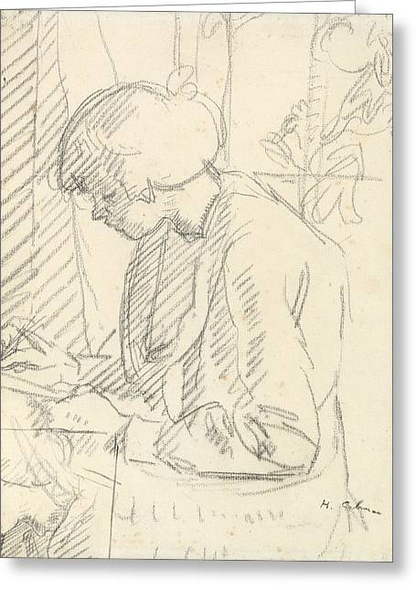 Girl Profile Greeting Cards - A Girl Writing Greeting Card by Harold Gilman