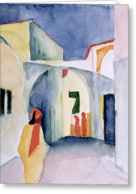 Expressionist Greeting Cards - A Glance Down An Alley Wc Greeting Card by August Macke
