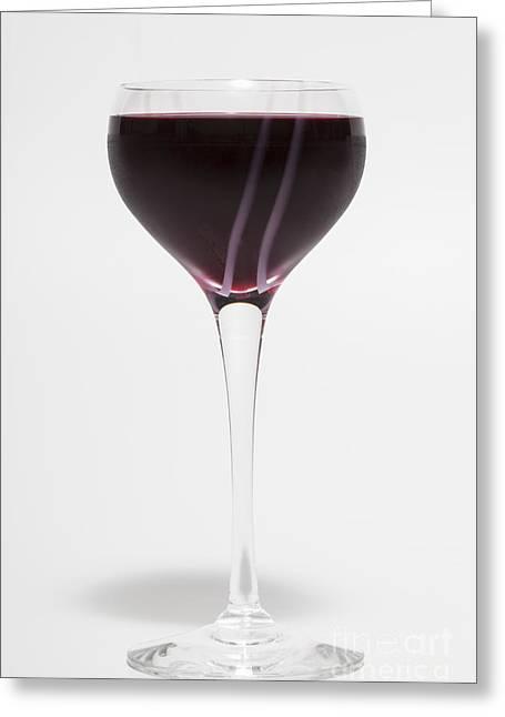 Long Stem Wine Glass Photographs Greeting Cards - A Glass of Red Wine Greeting Card by Diane Macdonald