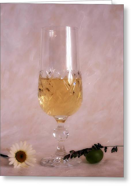 Pouring Wine Greeting Cards - A glass of white wine on painted background Greeting Card by IB Photo