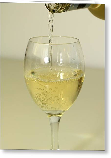 Wine Pour Greeting Cards - A glass of wine Greeting Card by Gord Patterson