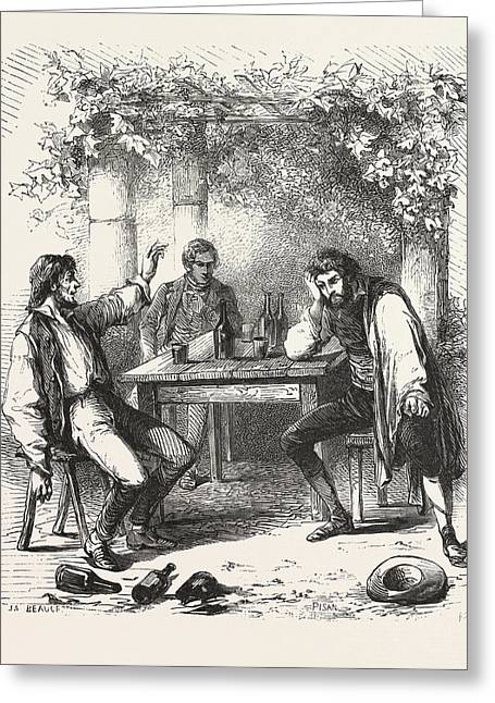 A Glass Of Wine In The Garden, The Count Of Monte Christo Greeting Card by English School