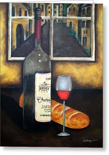 Red Wine Bottle Pastels Greeting Cards - A Glass of wine Greeting Card by Michael Alvarez