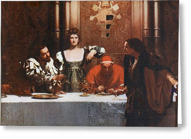 Borgia Greeting Cards - A Glass of Wine with Caesar Borgia Greeting Card by John Collier