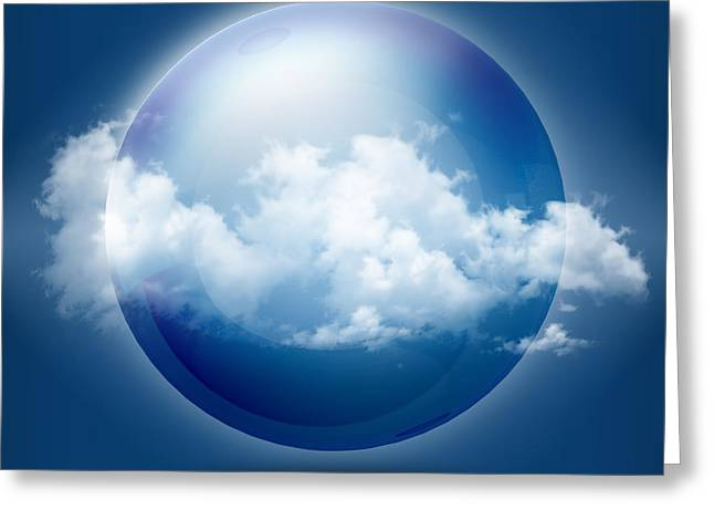 Blizzard Scenes Greeting Cards - A glass transparent ball with cloud  Greeting Card by Thanes