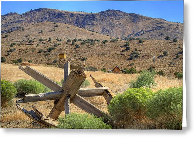 Wagon Wheels Greeting Cards - A Glimpse of the Old West Greeting Card by Donna Kennedy