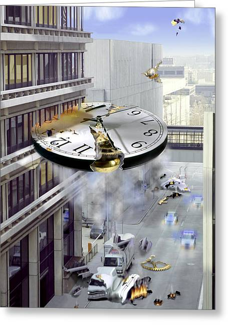 Clock Greeting Cards - A Glitch In Time Greeting Card by Mike McGlothlen