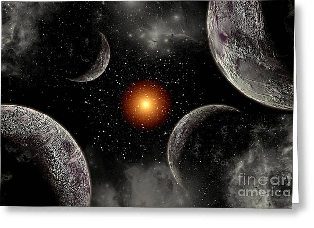 Fantasy World Greeting Cards - A Globular Star Cluster With A Red Greeting Card by Mark Stevenson