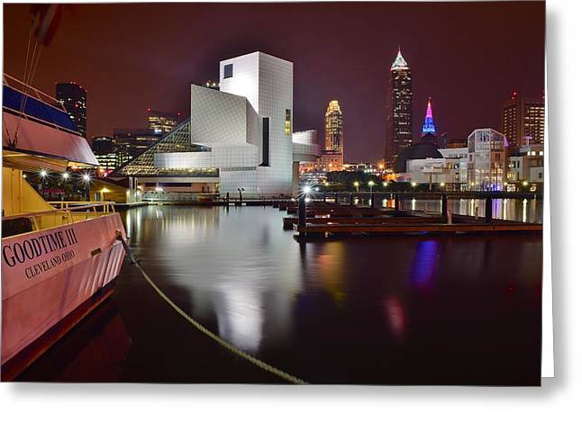 Slider Greeting Cards - A Glorious Cleveland Night Greeting Card by Frozen in Time Fine Art Photography