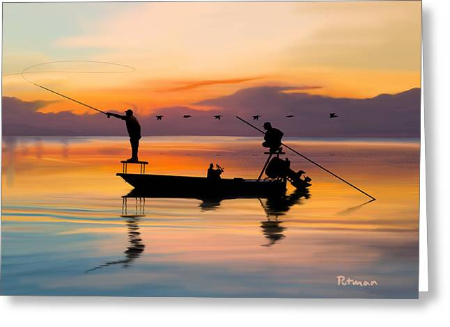 Fly Fishing Digital Art Greeting Cards - A Glorious Day Greeting Card by Kevin Putman