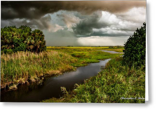A Glow On The Marsh Greeting Card by Christopher Holmes