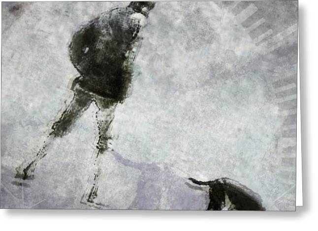 Dog Walking Greeting Cards - A glowing moment in their day Greeting Card by Suzy Norris