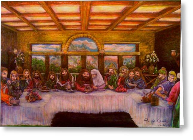 Last Supper Greeting Cards - A Gnostic Supper Greeting Card by Ap Cast