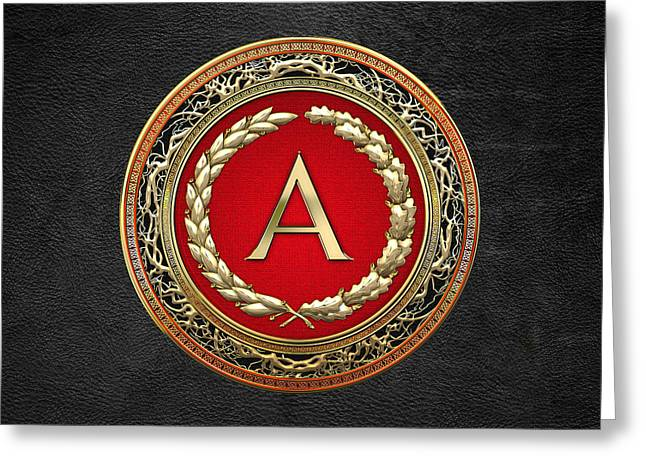 Cadeau Greeting Cards - A - Gold Vintage Monogram on Black Leather Greeting Card by Serge Averbukh
