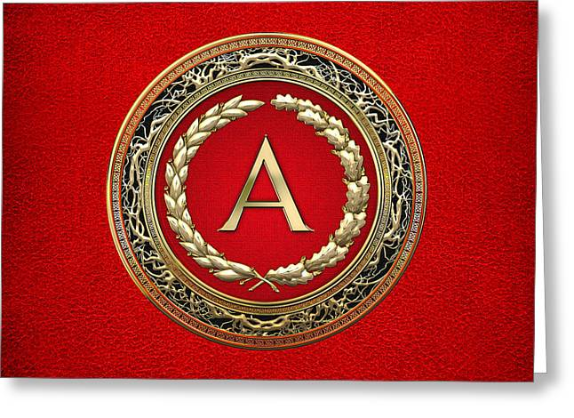 Cadeau Greeting Cards - A - Gold Vintage Monogram on Red Leather Greeting Card by Serge Averbukh