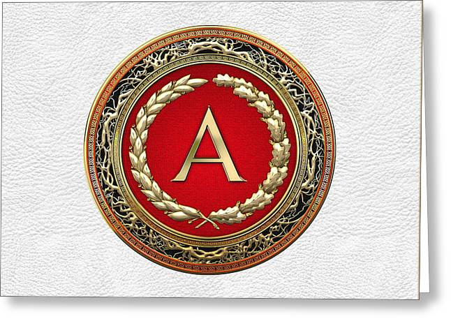 Cadeau Greeting Cards - A - Gold Vintage Monogram on White Leather Greeting Card by Serge Averbukh