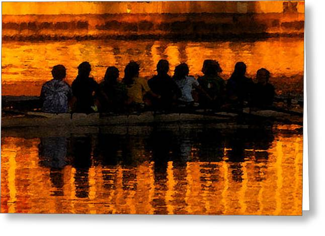Rowing Crew Greeting Cards - A golden morning Greeting Card by David Lee Thompson