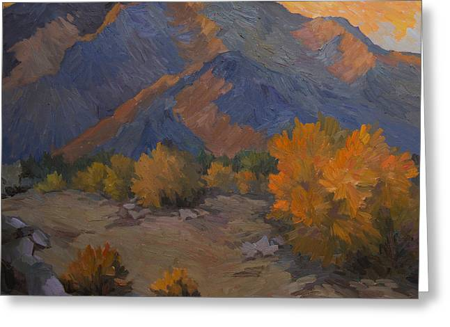 La Quinta Greeting Cards - A Golden Sky Greeting Card by Diane McClary