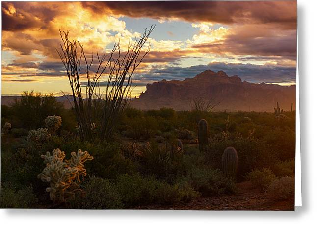 The Supes Greeting Cards - A Golden Superstition Sunrise  Greeting Card by Saija  Lehtonen