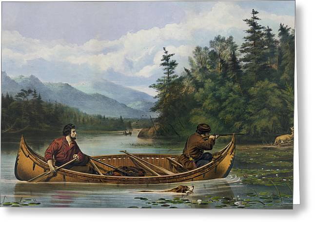 Canoe Greeting Cards - A good chance circa 1863 Greeting Card by Aged Pixel