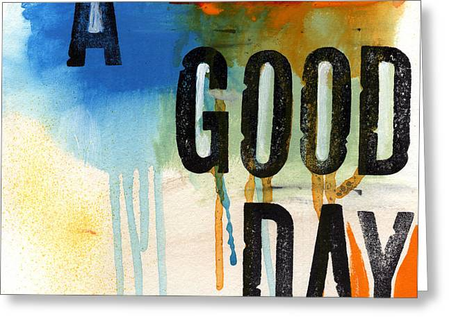 Blue And Orange Greeting Cards - A Good Day- Abstract Painting  Greeting Card by Linda Woods