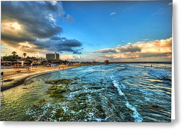 a good morning from Hilton's beach Greeting Card by Ron Shoshani