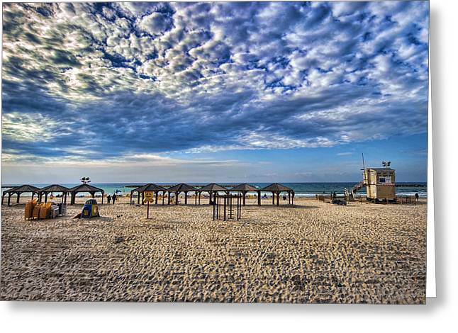 Meditative Greeting Cards - a good morning from Jerusalem beach  Greeting Card by Ron Shoshani