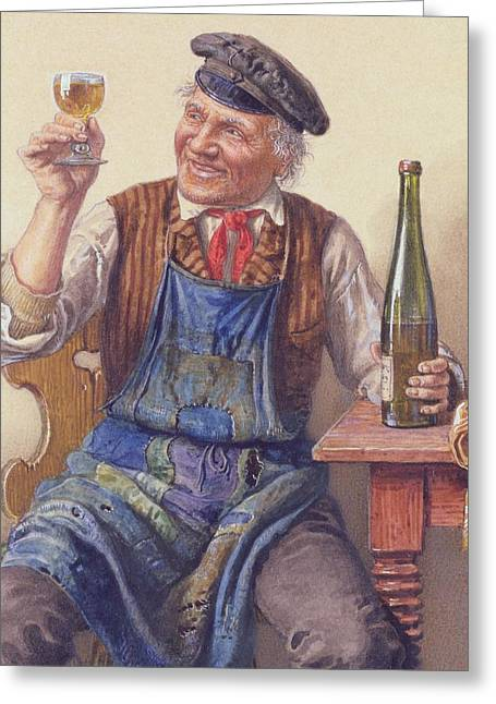 Table Wine Greeting Cards - A Good Vintage Greeting Card by Peter Kraemer