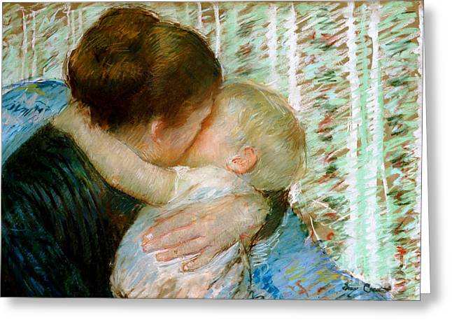 Mom Paintings Greeting Cards - A Goodnight Hug  Greeting Card by Mary Stevenson Cassatt