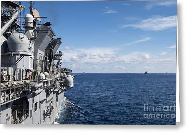 At Arrivals Greeting Cards - A Gorup Of Military Ships Transit Greeting Card by Stocktrek Images