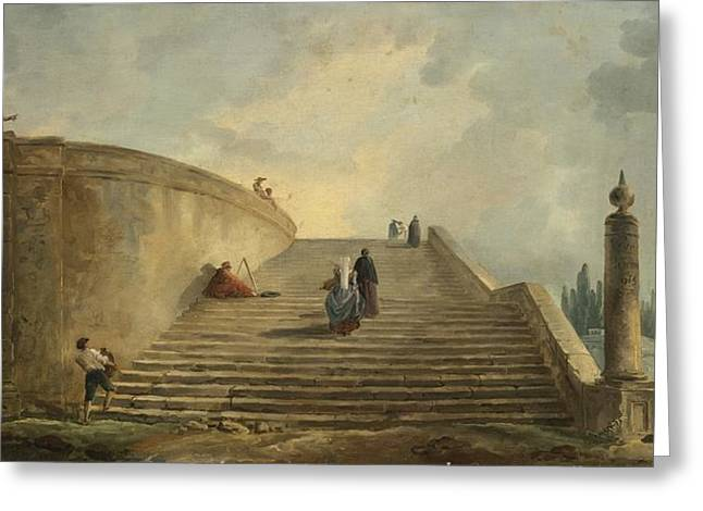 Robert; Hubert (1733-1808) Greeting Cards - A Grand Staircase Greeting Card by Hubert Robert