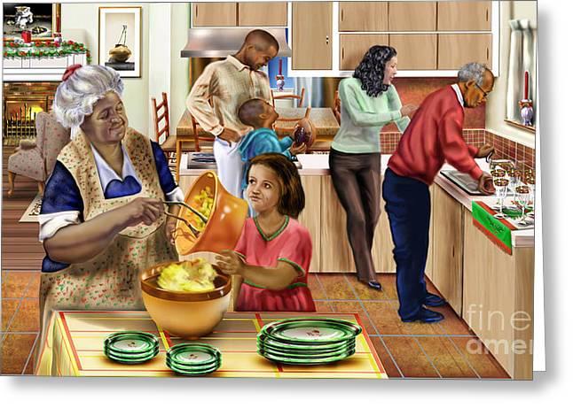 African-american Paintings Greeting Cards - A Grandma and Grandpop Christmas Greeting Card by Reggie Duffie