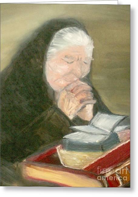 Praying Hands Drawings Greeting Cards - A Grandmothers Prayer Greeting Card by Helena Bebirian