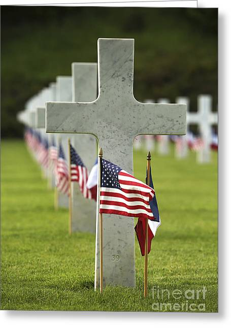 Place Of Burial Greeting Cards - A Grave Site At Aisne-marne American Greeting Card by Stocktrek Images