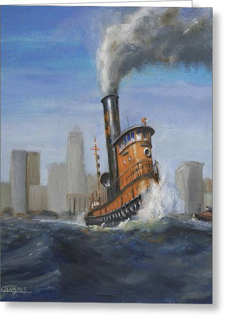 Hudson River Tugboat Greeting Cards - A Great Day for Tugs Greeting Card by Christopher Jenkins