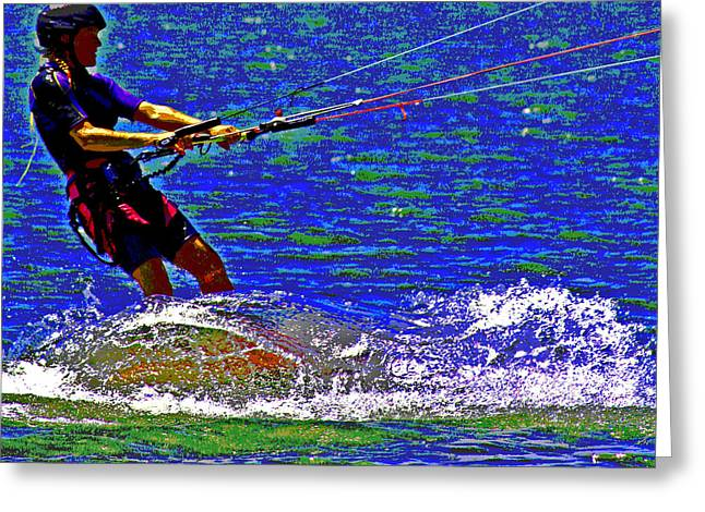 Kite Boarding Digital Art Greeting Cards - A Great Day To Fly A Kite  Greeting Card by Joseph Coulombe