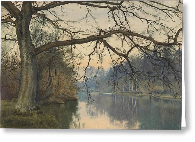 River Paintings Greeting Cards - A Great Tree on a Riverbank Greeting Card by William Fraser Garden