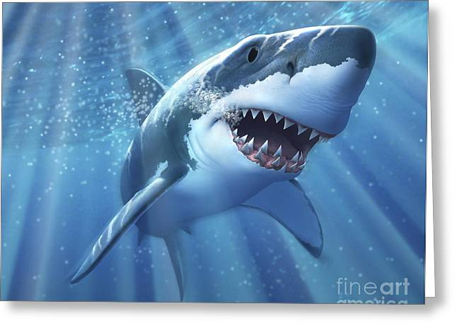 Fish Digital Art Greeting Cards - A Great White Shark With Sunrays Greeting Card by Jerry LoFaro