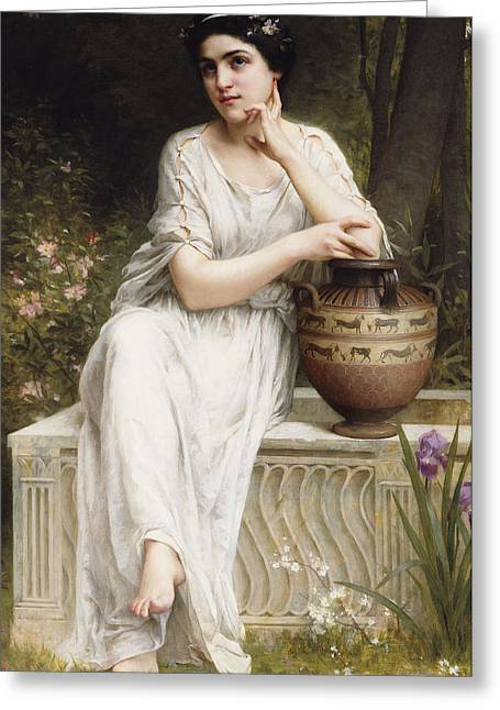 White Dress Greeting Cards - A Grecian Beauty Greeting Card by Charles Amable Lenoir
